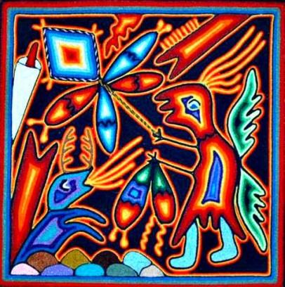 Obra contemporánea de arte Huichol. México.
